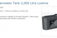ELS2000 litre lowline slimline tank Graf